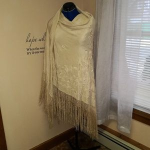 Vintage 1920s silk embroidered shawl with fringe